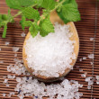 Wooden spoon with bath salt - Stockfoto