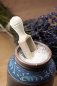 Bath salt with lavender — Stock Photo