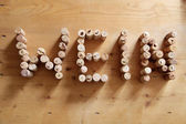 Corks forming the word wine — Photo