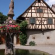 Village fountain with with half-timbered house — Stock Photo