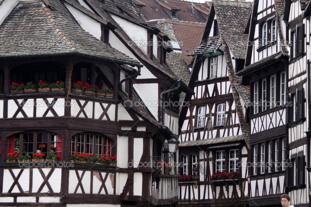 Black and white half timbered houses stock photo for Half timbered house plans