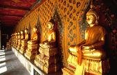 Row of golden Buddhas in Thai temple — Stock Photo