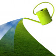 Green watering can — Stock Photo