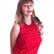 Woman in red spotted blouse with sun glasses — Stock Photo