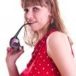 Woman in red spotted blouse with sun glasses — Stock Photo #3544590