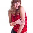 Woman in red spotted blouse — Stock Photo #3544591