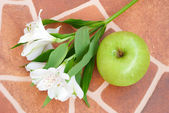 Lily and apple over floor — Stock Photo