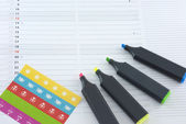 Calendar and colored markers — Stock Photo