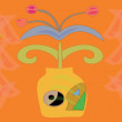 Royalty-Free Stock Vector Image: Flower in pot on orange background