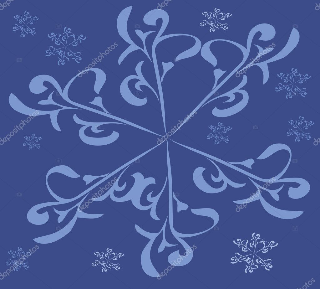 The Blue snowflakes turn blue the background, vector. — Stock Vector #3520422