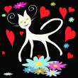 White cat on black background with flower and heart — Stock Vector