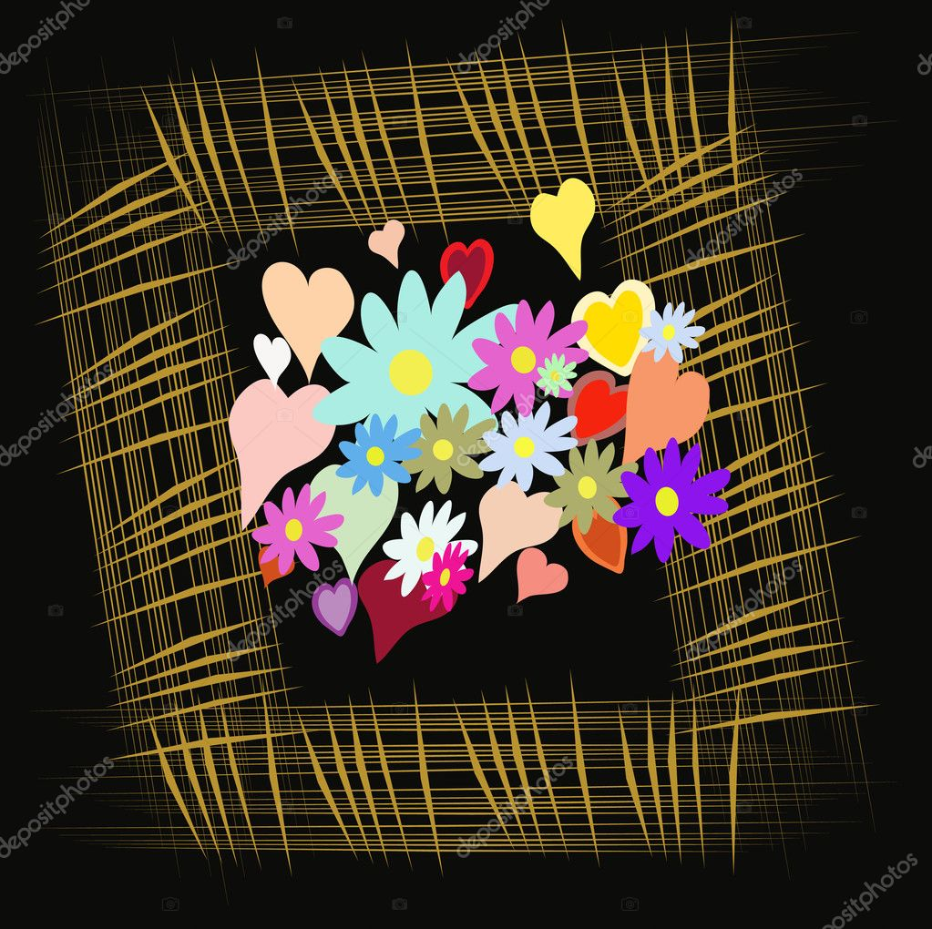 Frame with flower and heart on black background, vector, illustration — Stock Vector #3567992