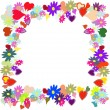 Frame with flower and heart - Stock Vector
