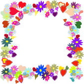 Frame with flower and heart — Stock Vector