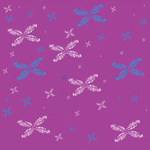White and blue snowflakes on lilac background — Stock Vector