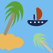 Nef ve Palmiye Adası — Stok Vektör
