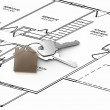 House design and keys - Stock Photo