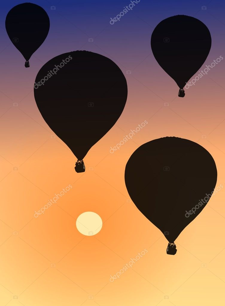 Image of hot air balloons during sundown  Stock Photo #3310066