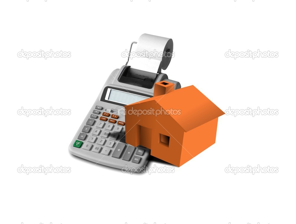 Image of monopoly house and calculator — Stock Photo #3310242