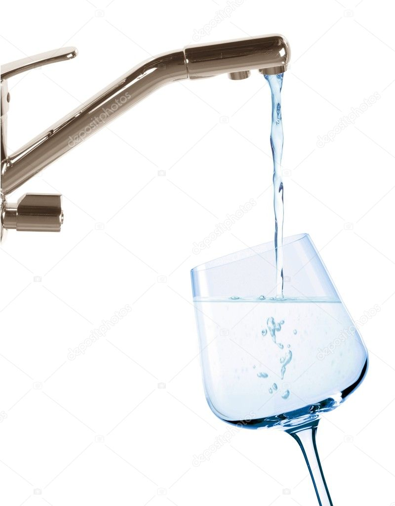 Image of streaming water from the water tap to glass  Stock Photo #3310364