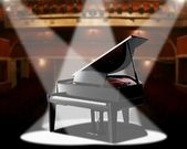 Piano in concert hall — Stock Photo