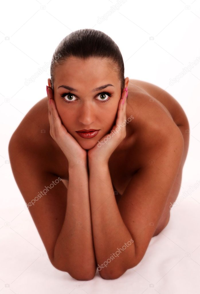 Naked sexy beautiful slenderness young woman on white background — Stock Photo #3352431