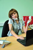 Busy office woman — Stock Photo