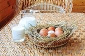 Milk and eggs — Stock Photo