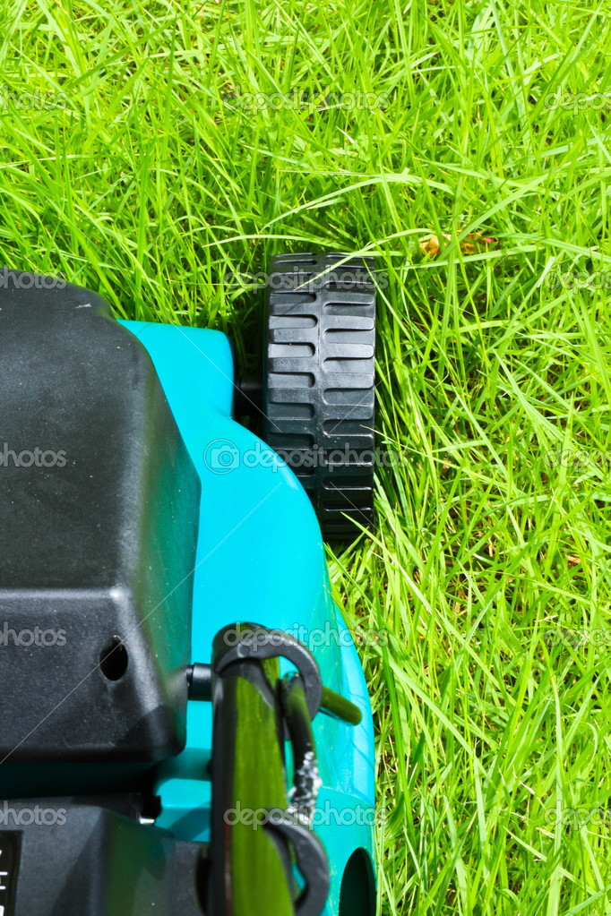 Lawn mover is going to be operated over long grass with backside view — Stock Photo #3428961