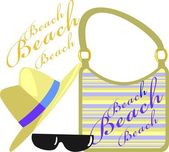 Beach set of straw hats, handbags and sunglasses — Stock Vector