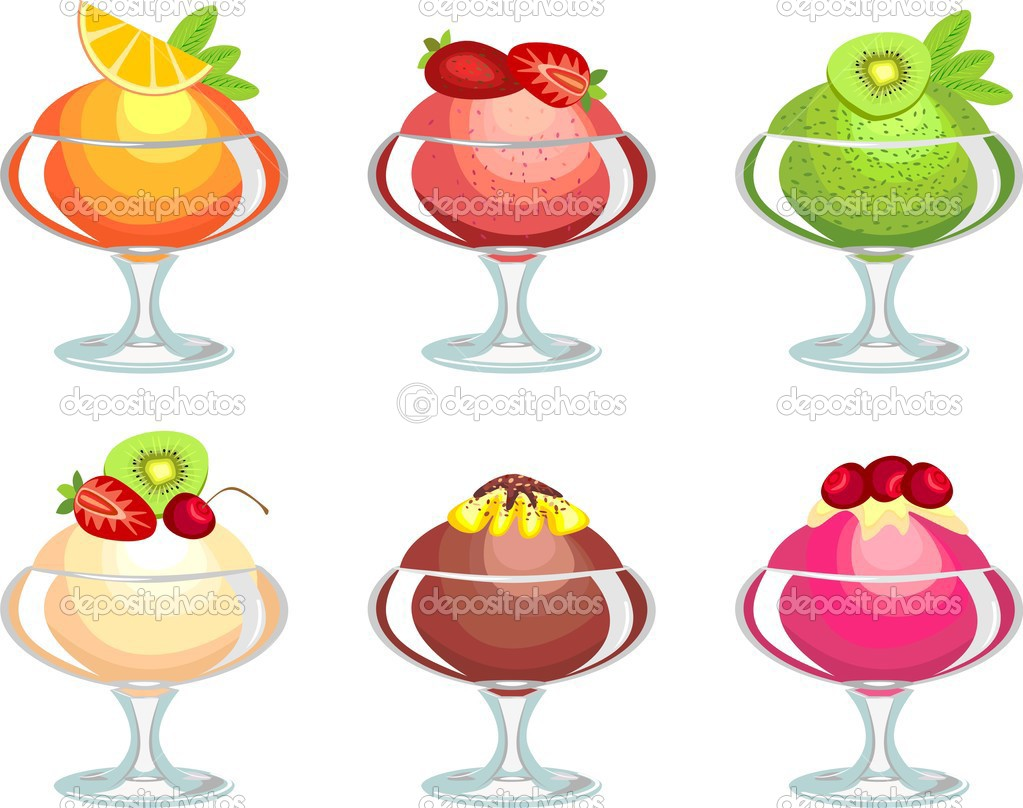 Collection of ice cream from fruit juices, cream and chocolate with nuts  Stock Vector #3478117
