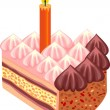Festive cake with candle — Stockvectorbeeld