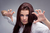Young aggressive woman — Stock Photo