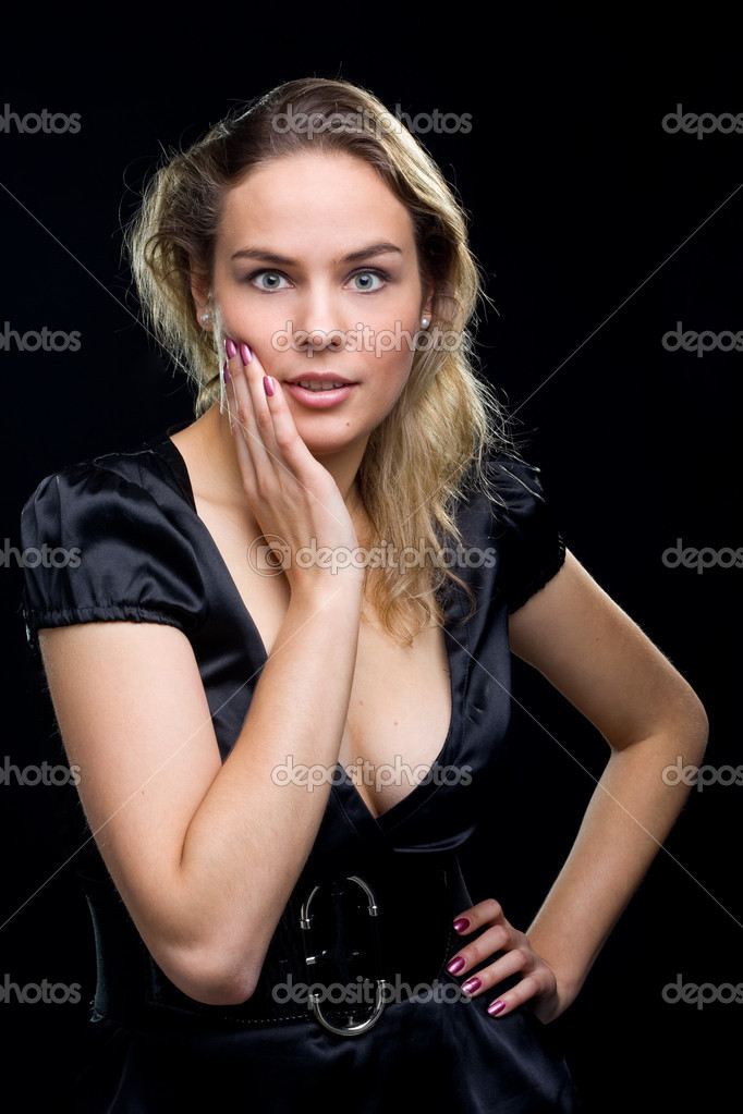 Isolated portrait shot of a beautiful caucasian woman. Holding her face in astonishment.  — Stock Photo #3322632