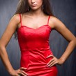 Stock Photo: Brunette wearing red dress