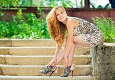 Fashion model portrait outdoors — Stock Photo