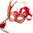 Stock Photo: Red and gold feathered carnival mask