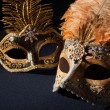 Silver and black carnival masks - Stock Photo