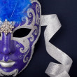 Blue and silver mask - Stock Photo