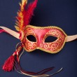 Stock Photo: Red and gold feathered mask
