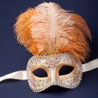 Stock Photo: White and gold feathered mask
