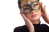 Beautiful woman wearing carnival mask — Stockfoto