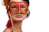 Woman wearing red carnival mask — Stock Photo