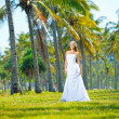 Young bride in dress outdoors — Stock Photo