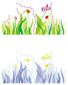 Grass, leaves and flowers — Stock Vector