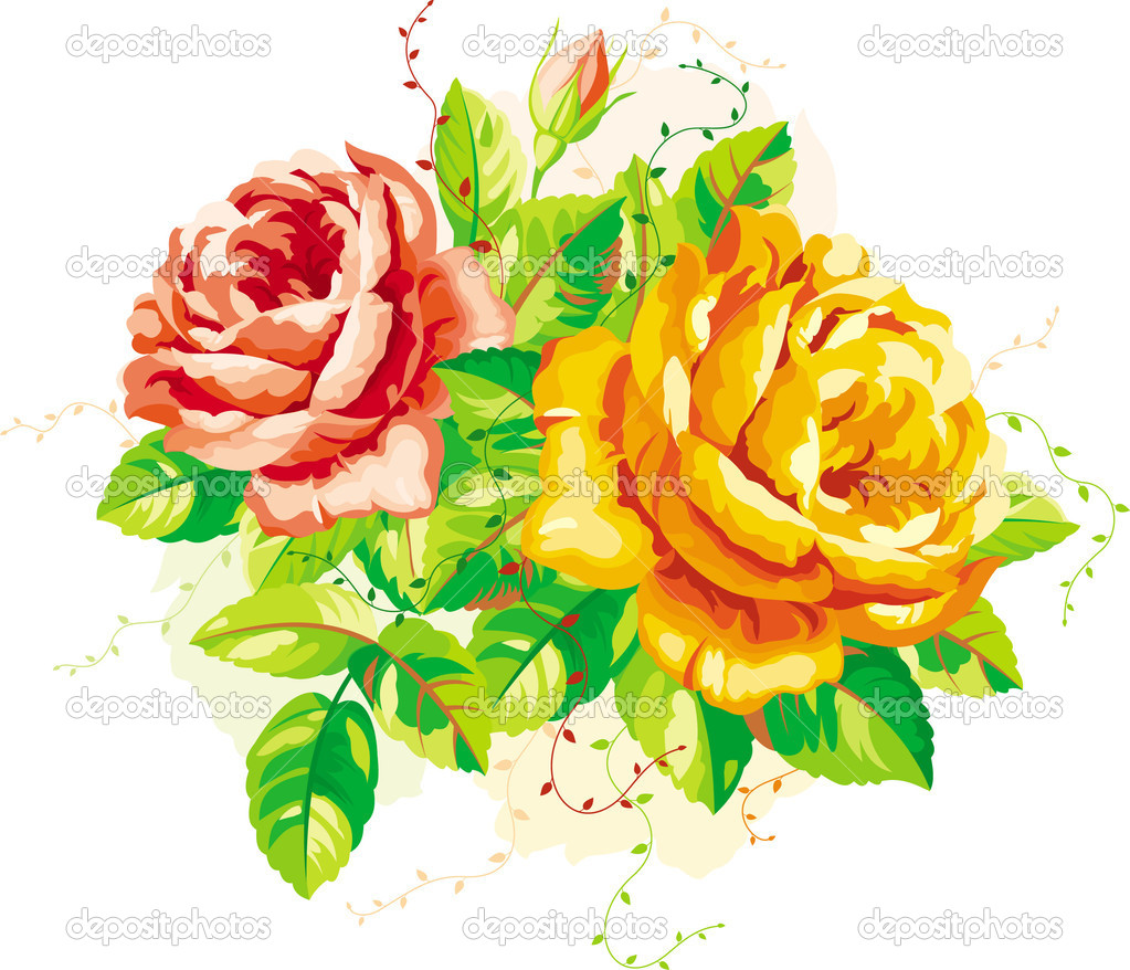 Vintage red and yellow roses with leaves — Stock Vector #3323260