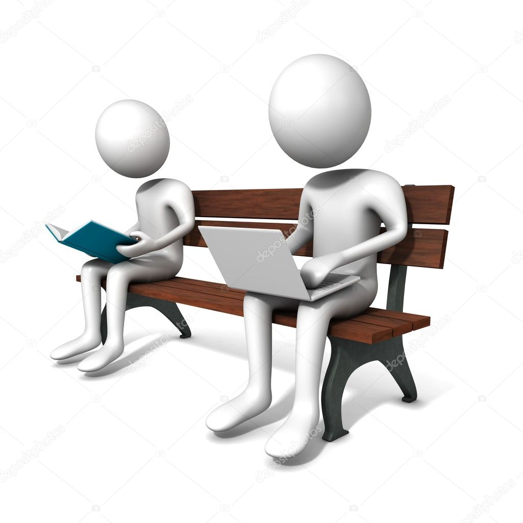 Man are sitting on the bench with white laptop and a book. 3D graphics. Three-dimensional,  isolated on white  Stock Photo #3394424