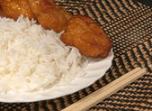White Rice with Oriental Chicken — Stock Photo