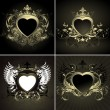 Stock Vector: Ornate hearts