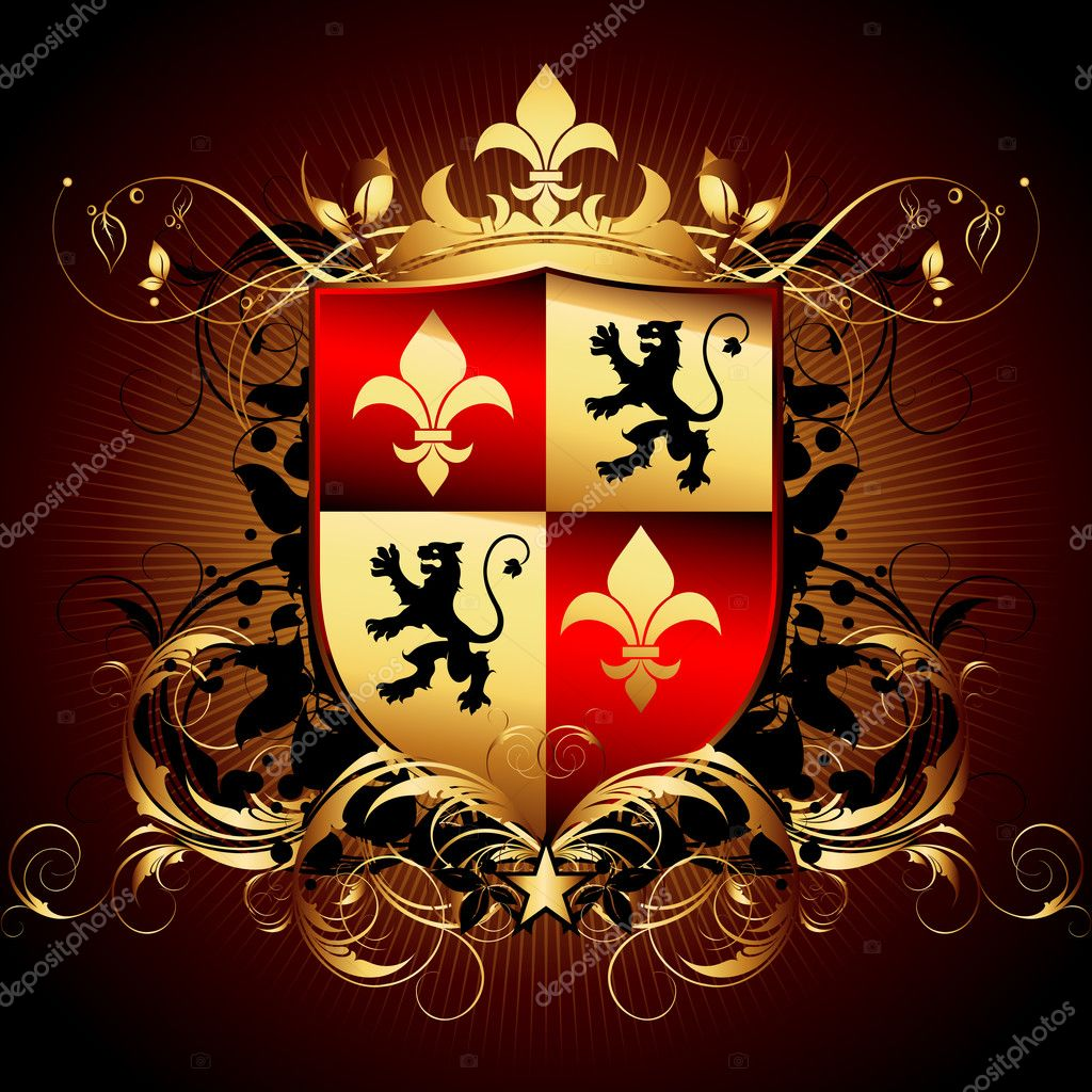 Ornamental shield, this illustration may be useful as designer work  Stock Vector #3456284